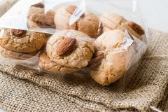 Almond Cookies in Package / Acibadem Kurabiyesi. Bakery in Plastic Box Stock Photography