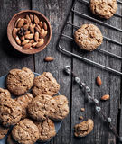 Almond cookies on rustic wooden table stock photos