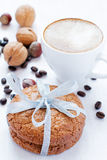 Almond cookies and cappuccino Stock Photo
