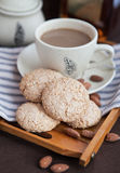 Almond cookies on a tray Royalty Free Stock Photography