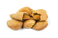 Almond with cracked nutshell Stock Photo