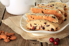 Almond and cranberry biscotti Stock Photography