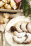 Almond crescent and Rugelach with chocolate filling. Royalty Free Stock Images