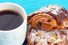 Almond croissants and coffee Royalty Free Stock Photos