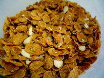 Almond Crunch Cereal. Macro of a bunch of almond crunch cereal royalty free stock photography