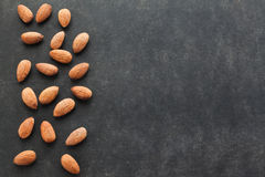Almond on dark background with free space for text. Royalty Free Stock Images