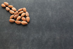 Almond on dark background with free space for text. Royalty Free Stock Photos