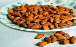 Almond. Dry fruit Almonds also known as badam on a white plate. Photo taken in the month of April, 2016 Royalty Free Stock Images