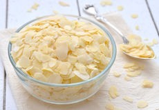 Almond flakes in a glass vase Royalty Free Stock Image