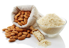 Almond flour and almonds Stock Photos
