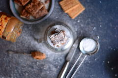 Almond flour brownies with peanut butter and biscuits Royalty Free Stock Photography