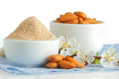 Almond flour and nuts Stock Photography