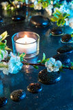 Almond flowers with black stones and candle - light for color therapy treatment. Almond flowers with black stones and candle for massage royalty free stock images