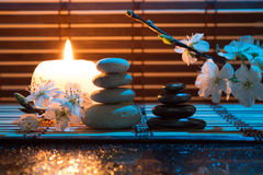 Almond flowers with candle and black and white stones. For massage royalty free stock images