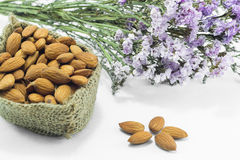 Almond grains on white clean table Stock Image