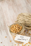 Almond Granola With Heart Healthy Tag On Jar From Above Royalty Free Stock Photo