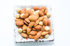 Almond and Hazel nuts Stock Photography