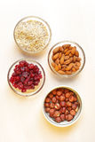 Almond, hazelnut and cranberry Stock Photos