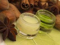 Almond and hazelnuts cosmetics stock image