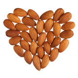 Almond heart isolated Royalty Free Stock Photos