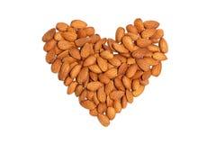 Almond heart nut fruit organic healthy vegan white background Royalty Free Stock Photos