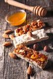 Almond honey bar, confectionery Stock Photo