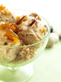 Almond ice cream. Home made almond ice cream with caramel pieces Royalty Free Stock Photography
