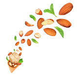 Almond ice cream fall in the air Stock Photography