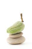 Almond like zen. Almond on a zen stone, rock like zen Stock Image