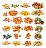 Almond  macadamia nuts peanut  black beans Royalty Free Stock Images