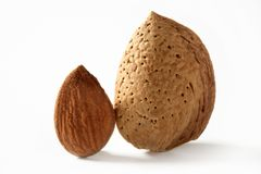 Almond macro image over white background Stock Photo