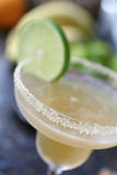 Almond Margarita cocktail with lime. Almond Margarita with lime. Shot with shallow focus Royalty Free Stock Photo