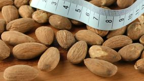 Almond and Measurement Macro View. Video stock footage