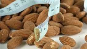 Almond and Measurement Macro View. Video stock video footage