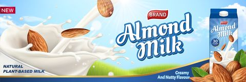 Almond milk ads with liquid. Pouring down into glass cup and package design on the right side, 3d illustration vector illustration