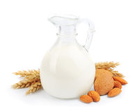 Almond milk with almond Royalty Free Stock Photos