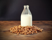 Almond milk. In bottle with almonds Royalty Free Stock Image