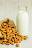 Almond milk in bottle Royalty Free Stock Image