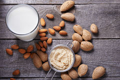 Almond milk in bottle Royalty Free Stock Image