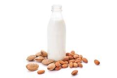 Almond milk in bottle Stock Photos