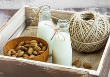 Almond milk in bottles with almond nuts bowl Royalty Free Stock Images
