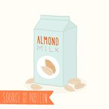Almond milk in a carton pack. Royalty Free Stock Images
