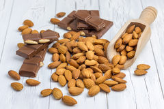 Almond and milk chocolate Royalty Free Stock Images