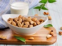 Almond milk in glass with almonds Stock Images