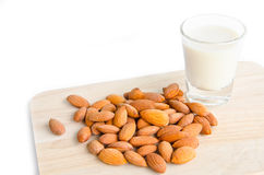 Almond milk in glass with almonds. Royalty Free Stock Photo
