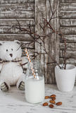 Almond milk in a glass bottle, almonds and a toy bear on a light wooden table. Stock Photography