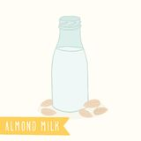 Almond milk in a glass bottle. Vector EPS 10 hand drawn illustration Stock Photos