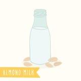 Almond milk in a glass bottle. Vector EPS 10 hand drawn illustration stock illustration