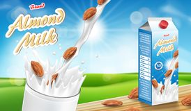 Almond milk glass with splash on wooden table with bokeh background. Milk products package design. Almond seed vector. Illustration ads EPS 10 stock illustration