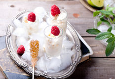 Almond milk granita with raspberries Stock Photo